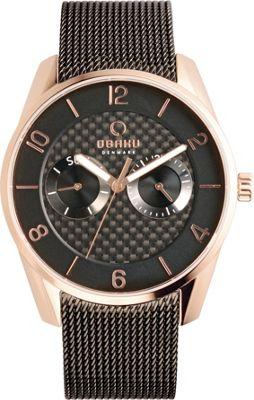 Obaku Watches Mens Multifunction Stainless Steel Mesh Watch Black/Rose Gold - Obaku Watches Watches