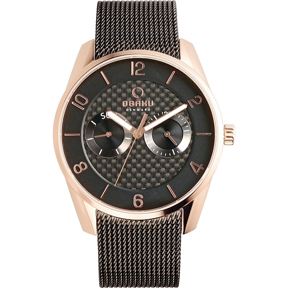 Obaku Watches Mens Multifunction Stainless Steel Mesh Watch Black Rose Gold Obaku Watches Watches