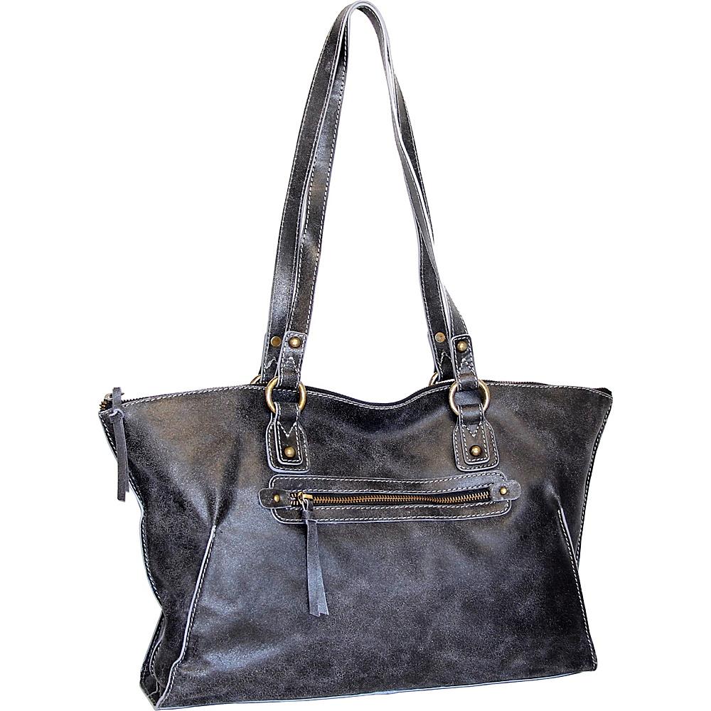 Nino Bossi Crackle Tote Black - Nino Bossi Leather Handbags - Handbags, Leather Handbags