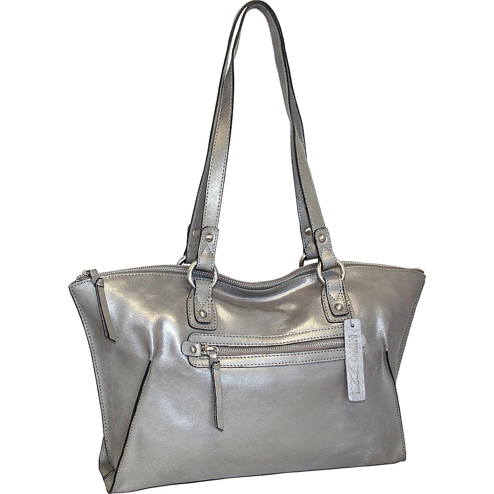Nino Bossi Crackle Tote Pewter - Nino Bossi Leather Handbags - Handbags, Leather Handbags