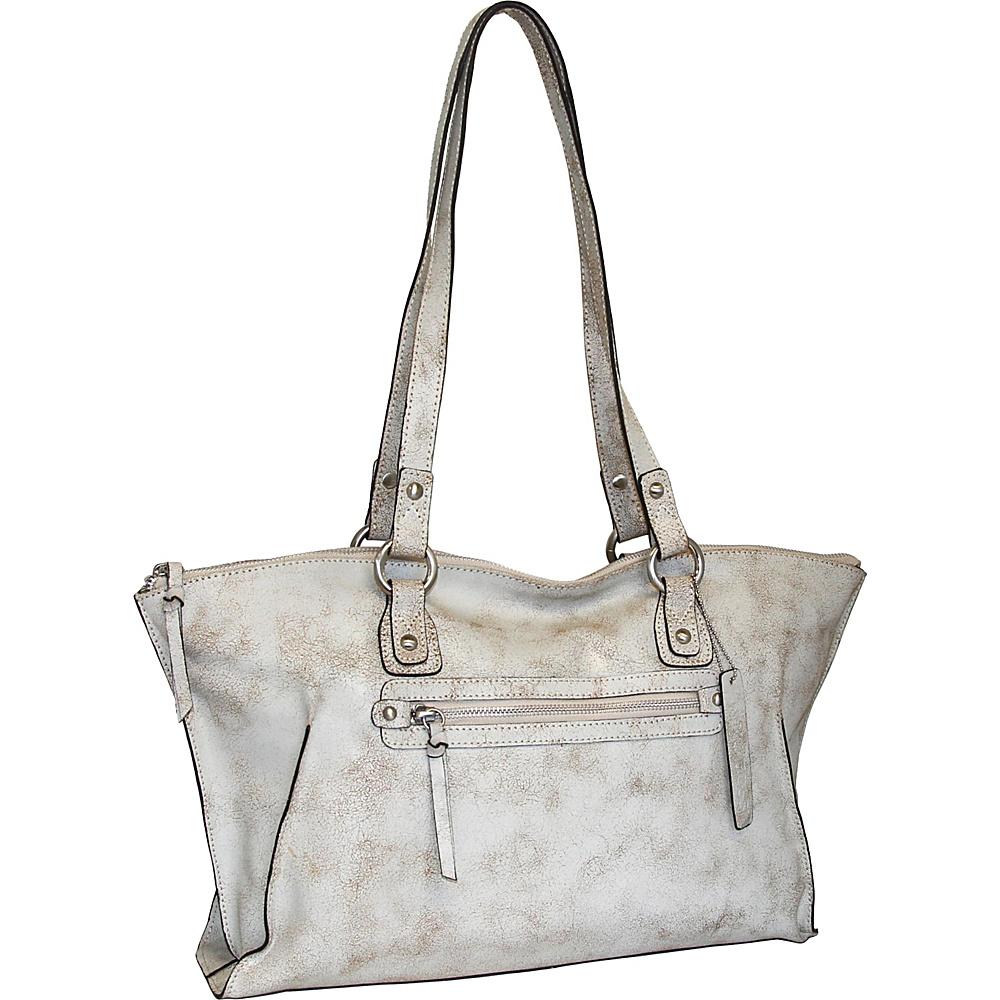 Nino Bossi Crackle Tote Winter White - Nino Bossi Leather Handbags - Handbags, Leather Handbags