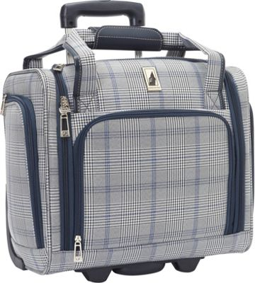 London Fog Knightsbridge Hyperlight 15 inch Under Seat Bag Grey/Navy Plaid - London Fog Softside Carry-On