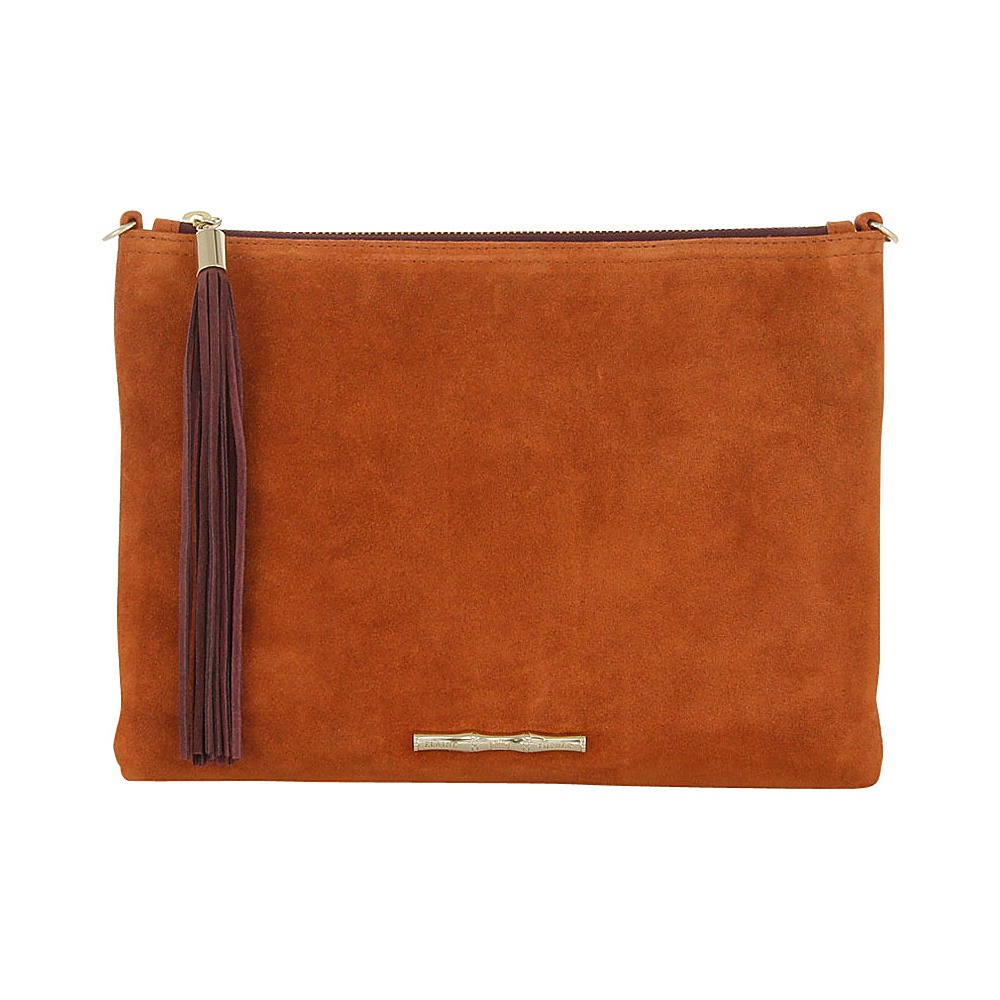 Elaine Turner Brindle Suede Clutch Pumpkin Burgundy Elaine Turner Designer Handbags