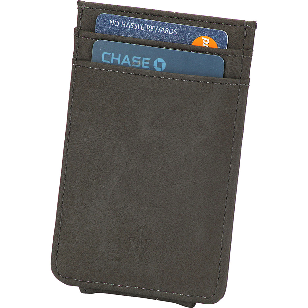 1Voice The Striker RFID Blocking Leather Card Holder Magnetic Money Clip Grey 1Voice Men s Wallets
