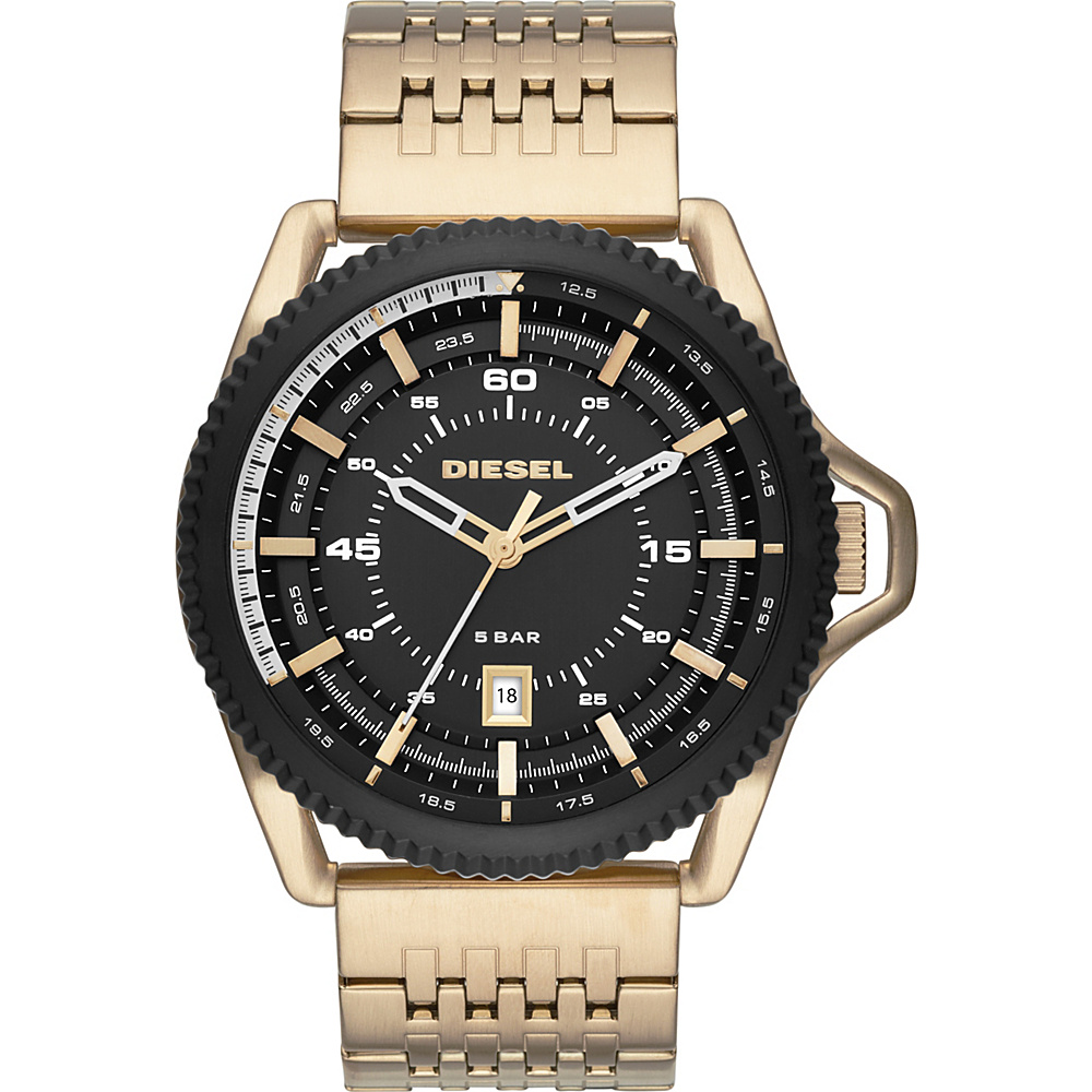 Diesel Watches Rollcage Watch Gold Black Gold Diesel Watches Watches