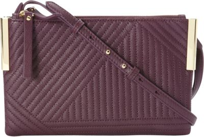 Vince Camuto Vince Camuto Tina Crossbody Berry Wine Geometric Stitch - Vince Camuto Designer Handbags