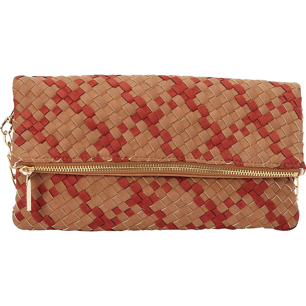 deux lux Delaney Fold Clutch Cognac deux lux Manmade Handbags