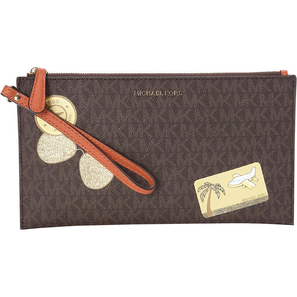 MICHAEL Michael Kors Illustrations Fly Away Large Zip Clutch Brown Orange MICHAEL Michael Kors Designer Handbags