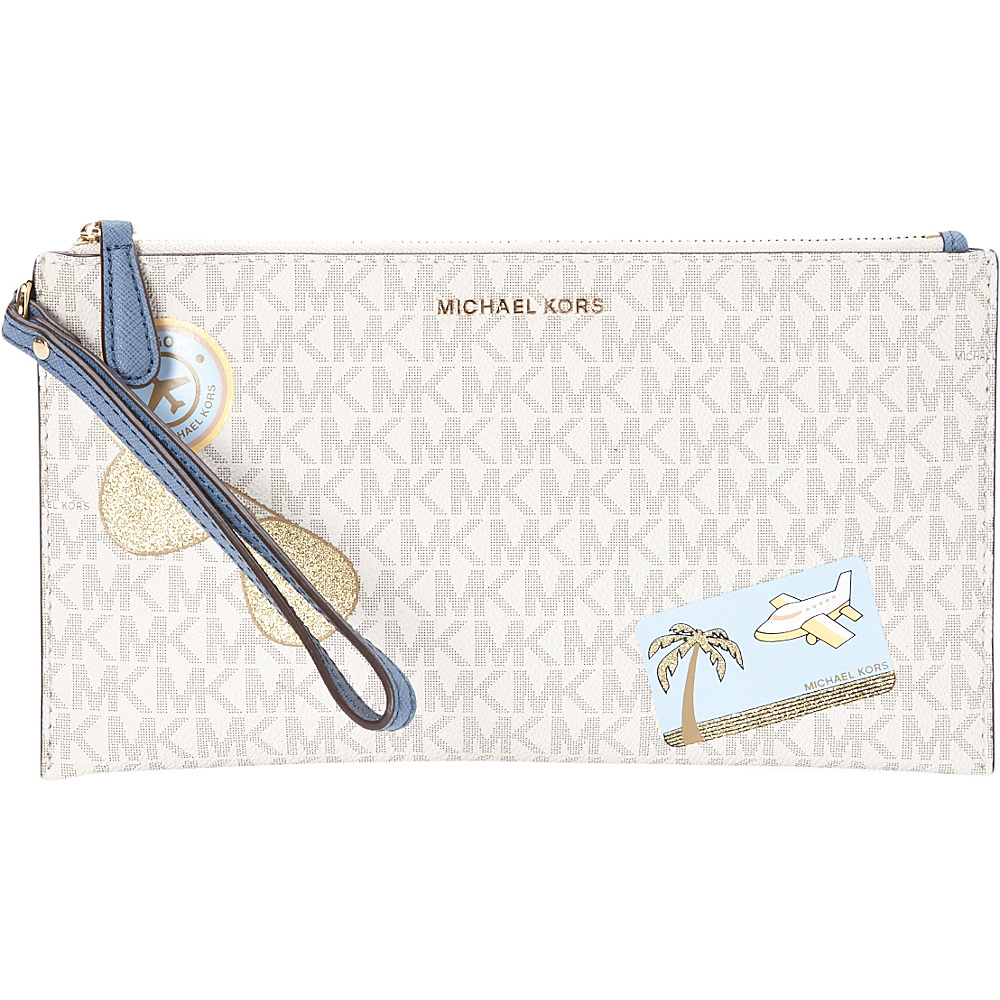 MICHAEL Michael Kors Illustrations Fly Away Large Zip Clutch Van Denim MICHAEL Michael Kors Designer Handbags