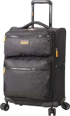 LUCAS Ultra Light Weight Originals 20 inch Exp Spinner Black - LUCAS Softside Carry-On