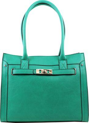 Emilie M Elaina Shopper Tote Turquoise - Emilie M Manmade Handbags