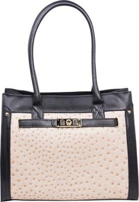 Emilie M Elaina Shopper Tote Ecru/ Black - Emilie M Manmade Handbags