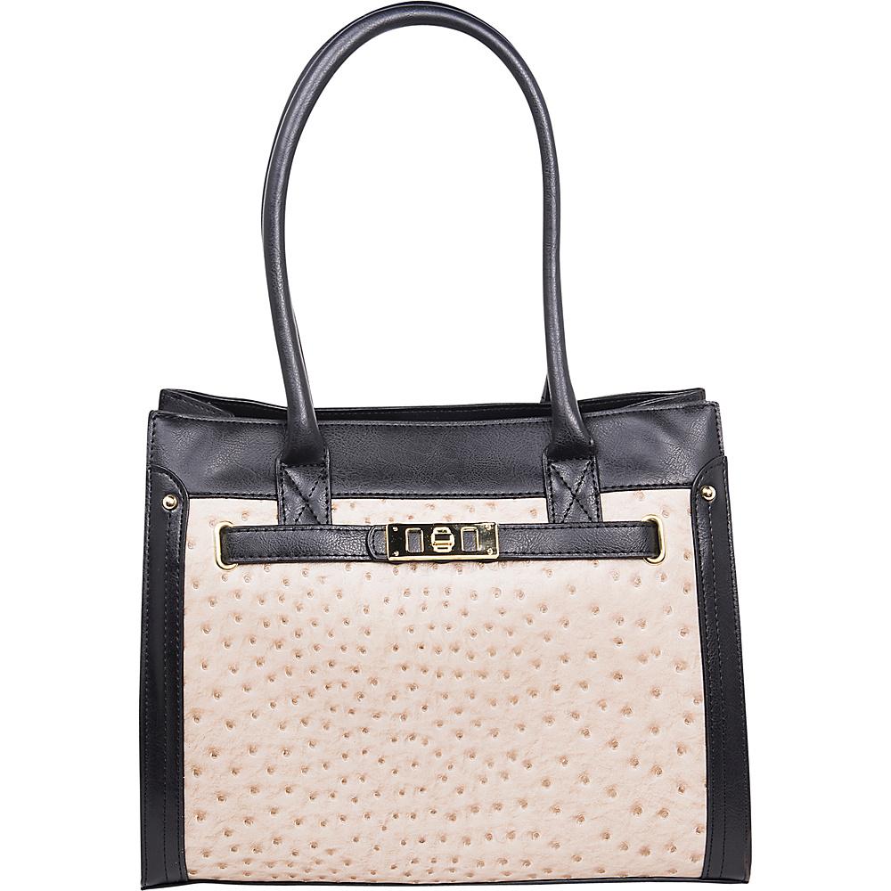 Emilie M Elaina Shopper Tote Ecru Black Emilie M Manmade Handbags