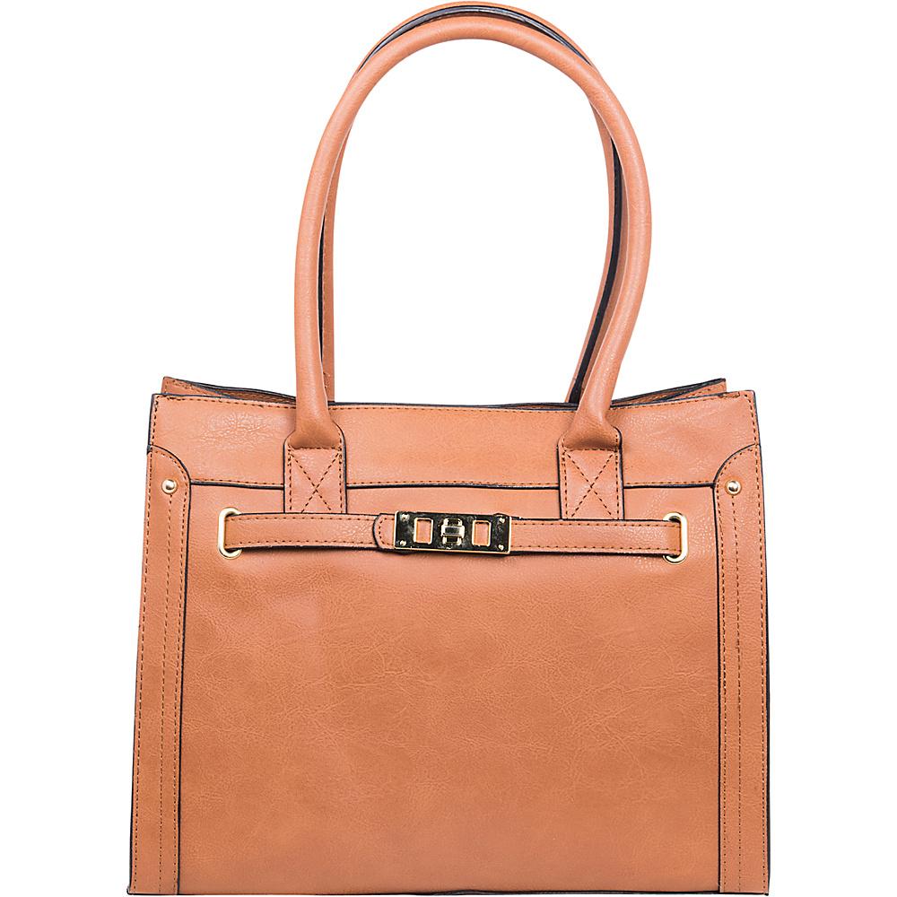 Emilie M Elaina Shopper Tote Cognac Emilie M Manmade Handbags