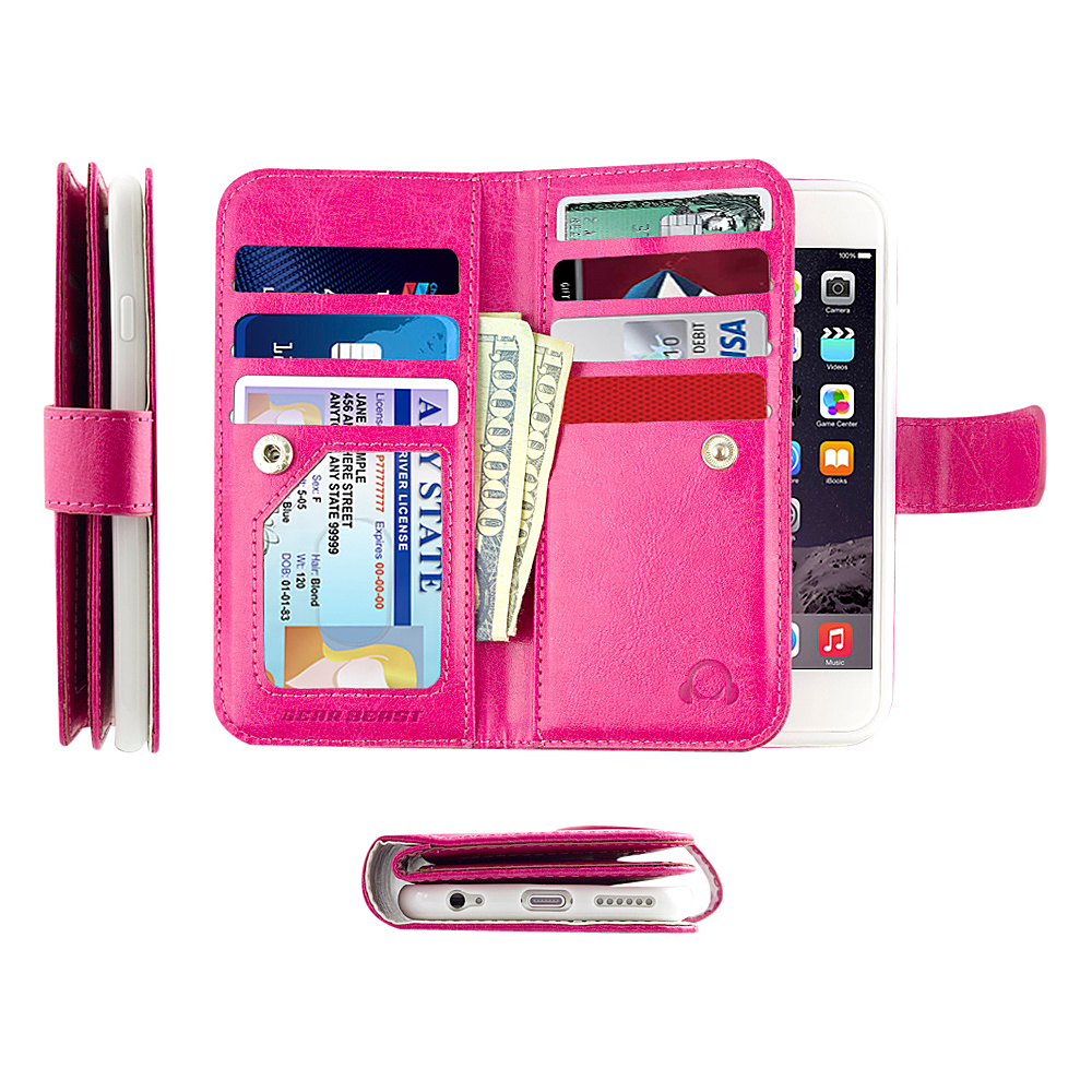 Gear Beast Dual Folio Wallet iPhone 6 Plus Case Pink iPhone 6 Plus Gear Beast Electronic Cases