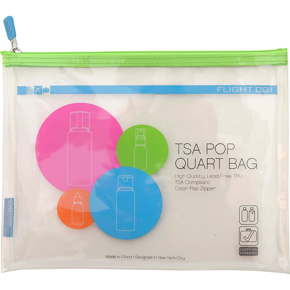 Flight 001 Pop TSA Approved Quart Bag Green Flight 001 Travel Organizers