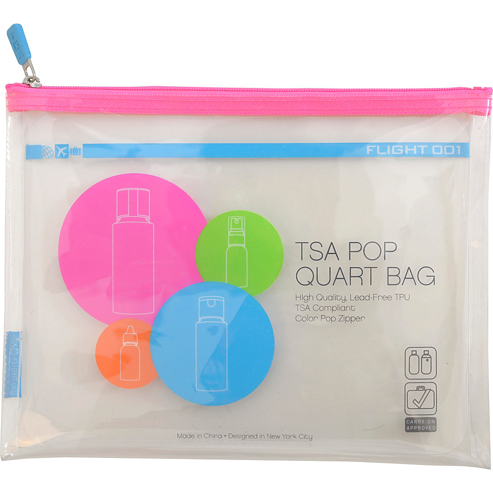 Flight 001 Pop TSA Approved Quart Bag Pink Flight 001 Travel Organizers