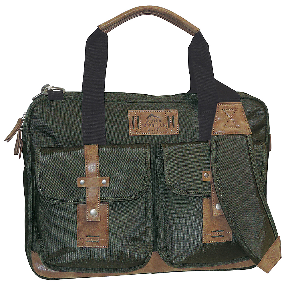 Buxton Expedition II Trekker Laptop Brief Olive - Buxton Non-Wheeled Business Cases - Work Bags & Briefcases, Non-Wheeled Business Cases