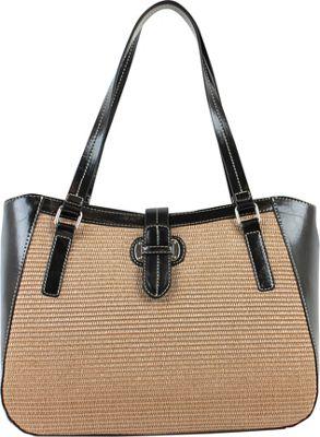 Emilie M Lara Double Shoulder Tote Black - Emilie M Manmade Handbags