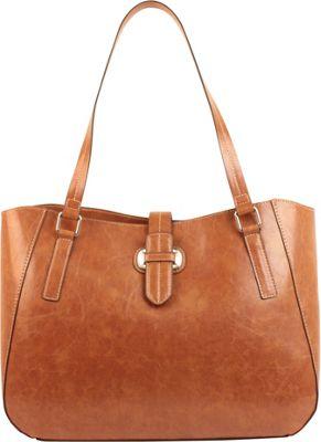 Emilie M Lara Double Shoulder Tote Cognac - Emilie M Manmade Handbags