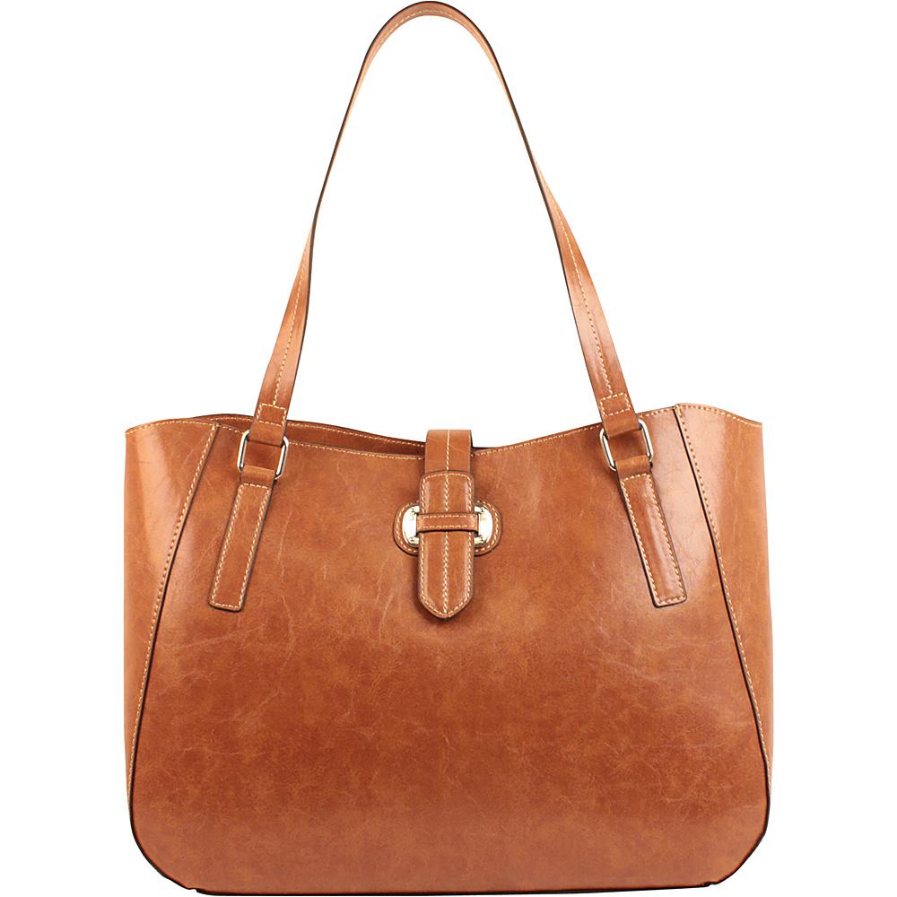 Emilie M Lara Double Shoulder Tote Cognac Emilie M Manmade Handbags