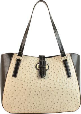 Emilie M Lara Double Shoulder Tote Ecru Ostrich/Black - Emilie M Manmade Handbags