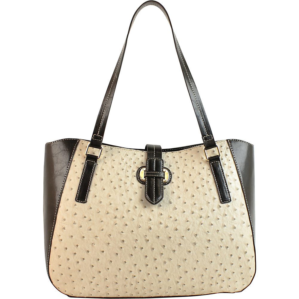 Emilie M Lara Double Shoulder Tote Ecru Ostrich Black Emilie M Manmade Handbags
