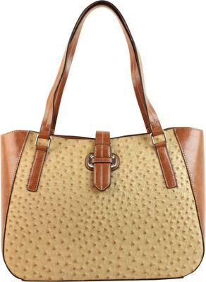 Emilie M Lara Double Shoulder Tote Sand Ostrich/Cognac - Emilie M Manmade Handbags