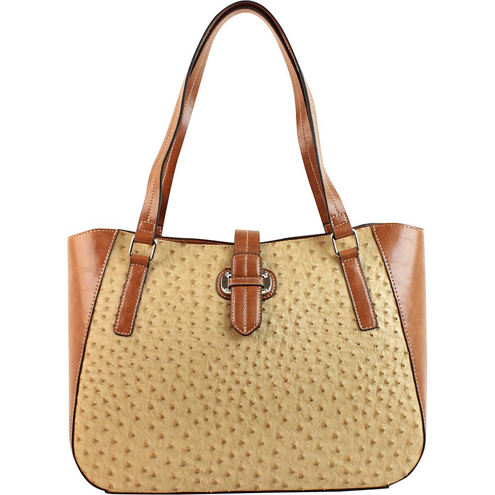 Emilie M Lara Double Shoulder Tote Sand Ostrich Cognac Emilie M Manmade Handbags