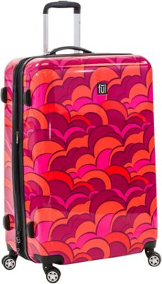 ful Sunset 24 Inch Spinner Rolling Luggage Orange - ful Hardside Checked
