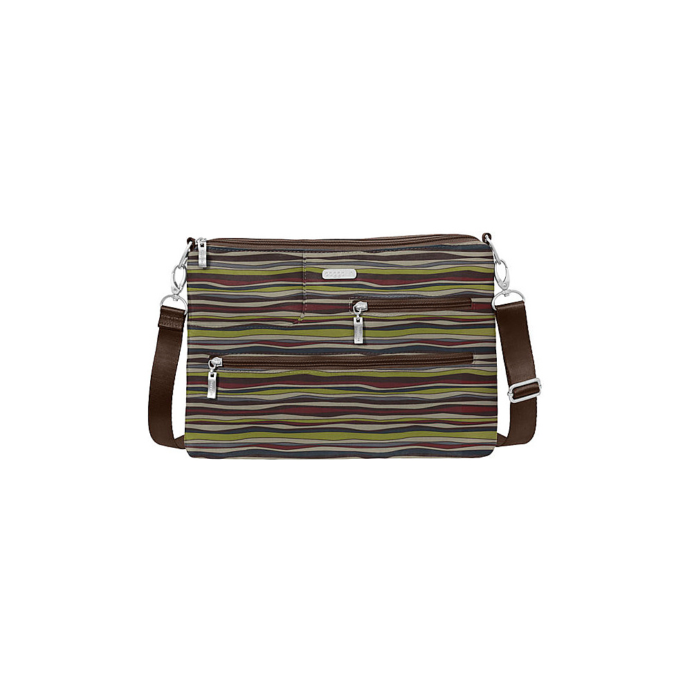 baggallini Tablet Crossbody with RFID - Retired Colors Java Stripe - baggallini Fabric Handbags