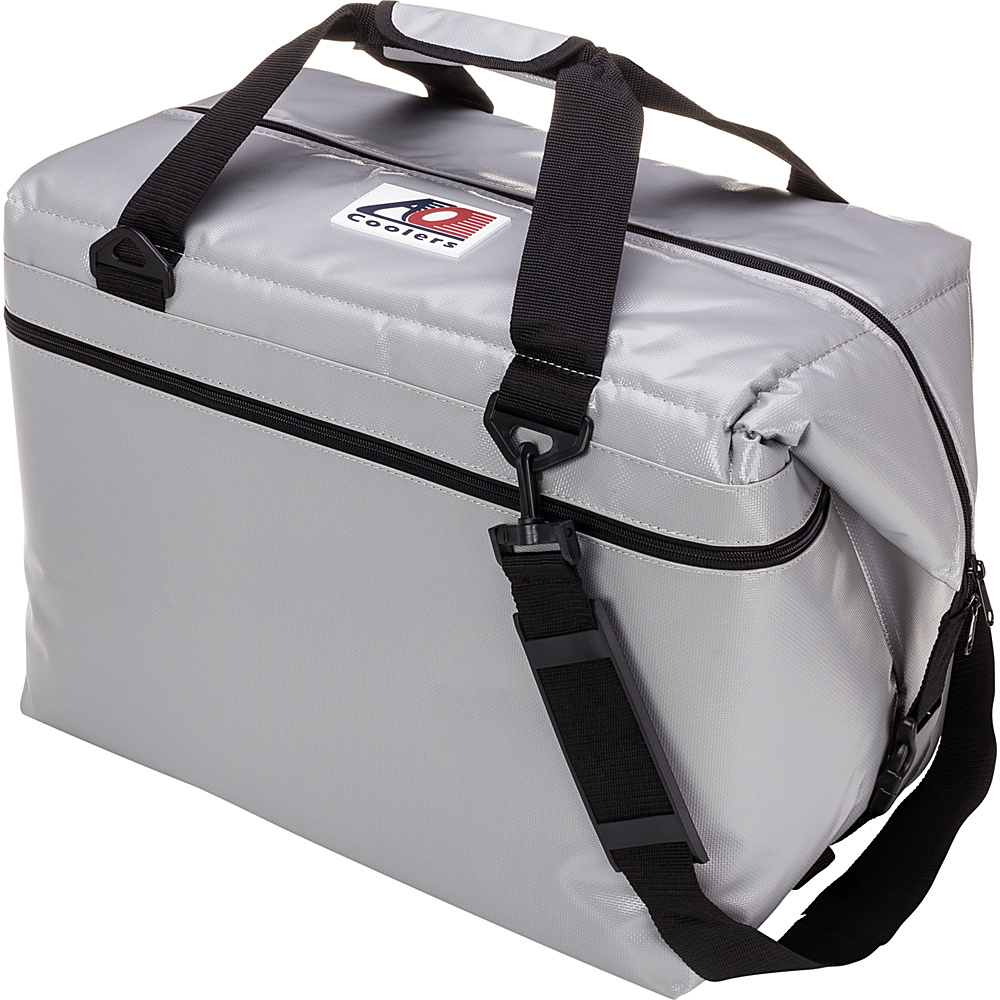AO Coolers 48 Pack Vinyl Soft Cooler Silver AO Coolers Outdoor Coolers