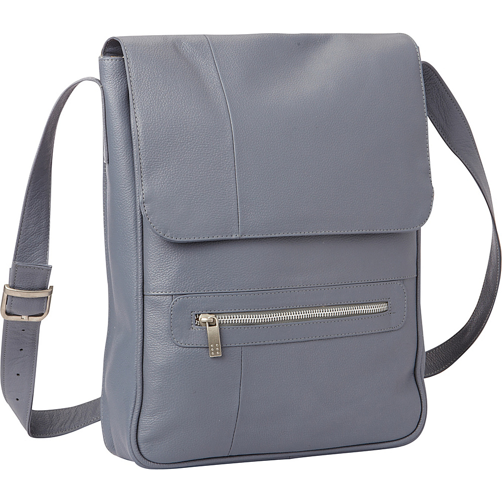 Piel Vertical Leather Laptop Bag Gray - Piel Non-Wheeled Business Cases - Work Bags & Briefcases, Non-Wheeled Business Cases