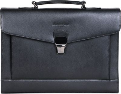 Kenneth Cole New York Business Kenneth Cole New York Business Saffiano Leather RFID Blocking Flapover Portfolio Black - Kenneth Cole New York Business Non-Wheeled Business Cases