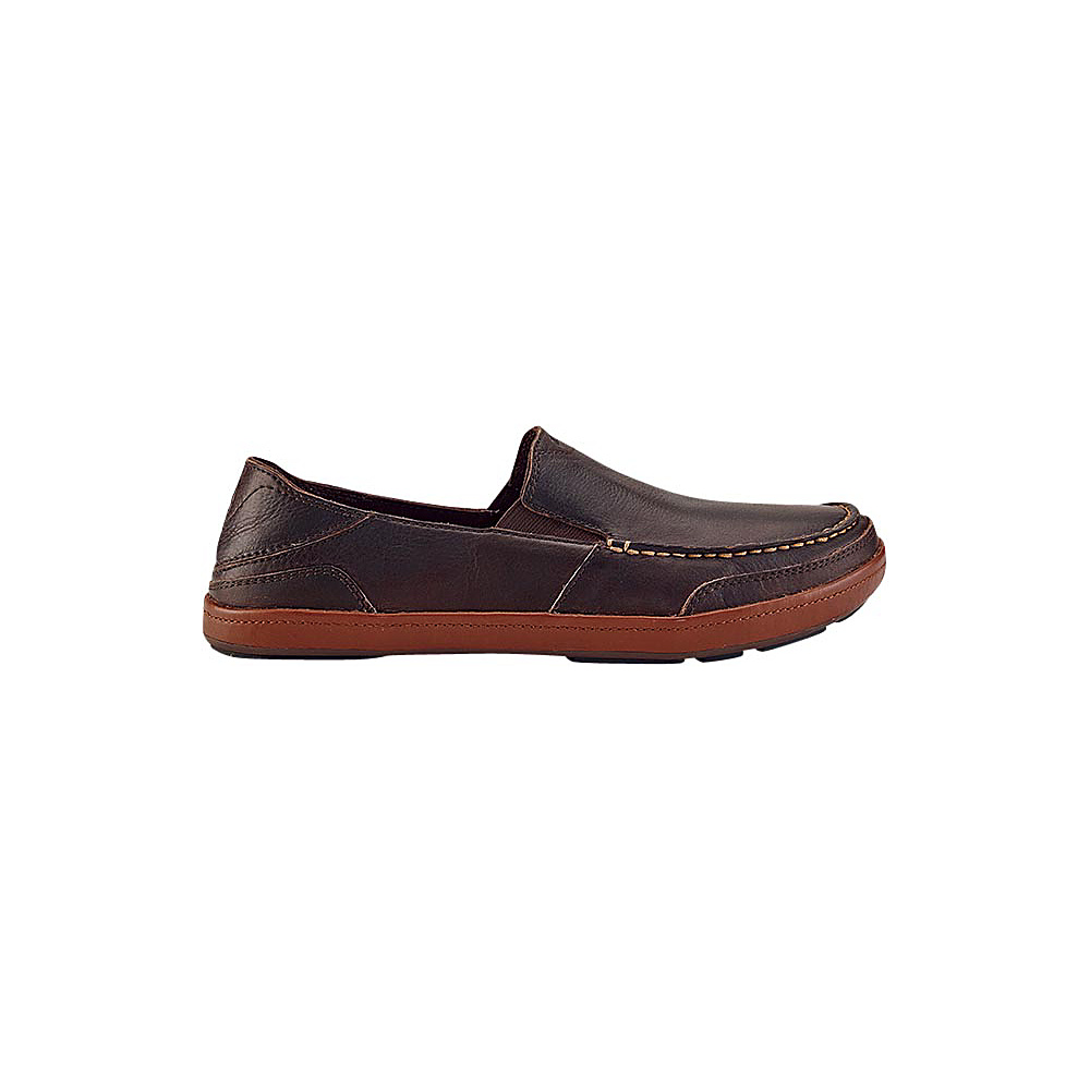 OluKai Mens Puhalu Leather Slip-On 8 - Dark Wood/Toffee - OluKai Mens Footwear - Apparel & Footwear, Men's Footwear