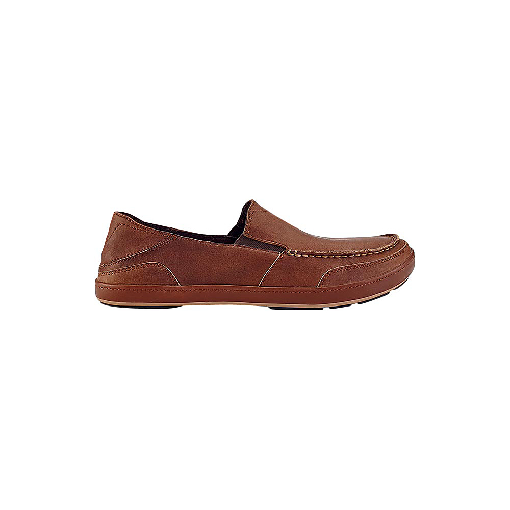 OluKai Mens Puhalu Leather Slip-On 9 - Toffee/Toffee - OluKai Mens Footwear - Apparel & Footwear, Men's Footwear