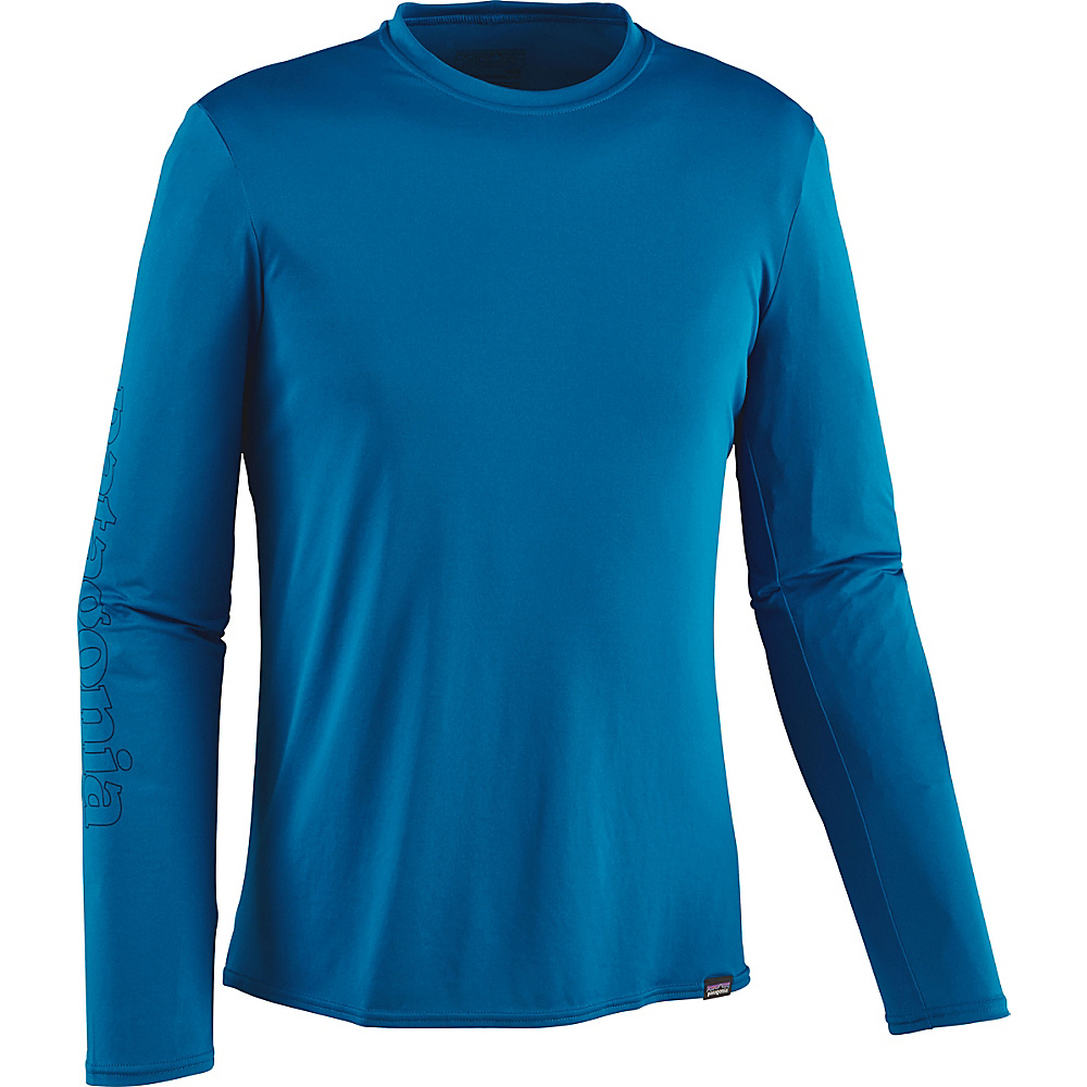 Patagonia Mens Long-Sleeved Capilene Daily Graphic T-Shirt M - Outline Text Logo: Bandana Blue - Patagonia Mens Apparel - Apparel & Footwear, Men's Apparel