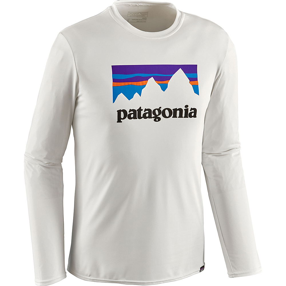 Patagonia Mens Long-Sleeved Capilene Daily Graphic T-Shirt S - Shop Sticker: White - Patagonia Mens Apparel - Apparel & Footwear, Men's Apparel