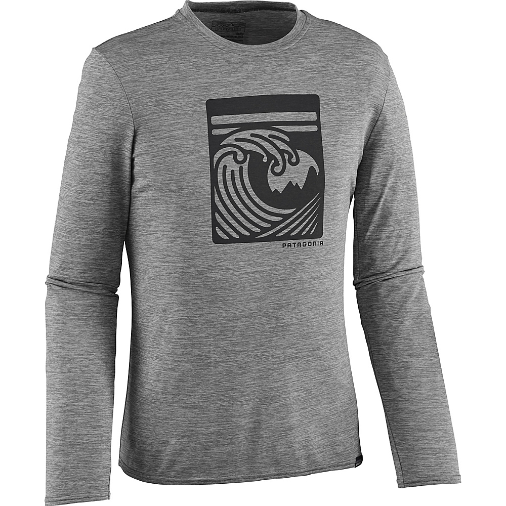 Patagonia Mens Long-Sleeved Capilene Daily Graphic T-Shirt M - Viewfinder: Feather Grey Heather - Patagonia Mens Apparel - Apparel & Footwear, Men's Apparel