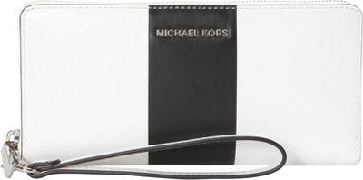 MICHAEL Michael Kors Center Stripe Jet Set Travel Continental Wallet Optic White/Black - MICHAEL Michael Kors Women's Wallets 10524355