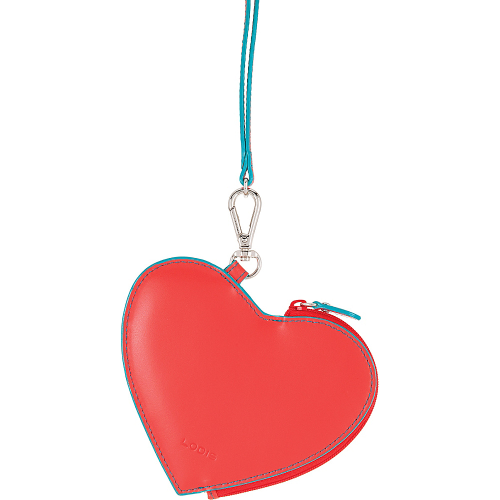 Lodis Audrey Elda Heart Pouch w/ Lanyard Coral/Turquoise - Lodis Womens SLG Other - Women's SLG, Women's SLG Other