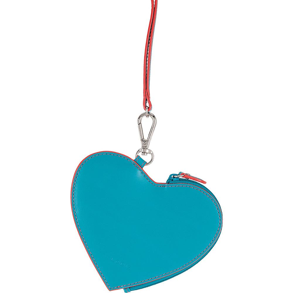Lodis Audrey Elda Heart Pouch w/ Lanyard Turquoise/Coral - Lodis Womens SLG Other - Women's SLG, Women's SLG Other