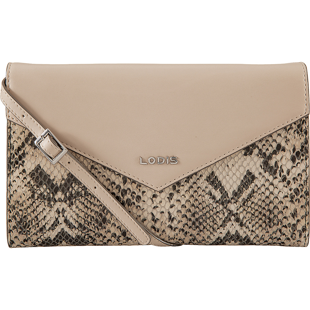 Lodis Kate Exotic Gabi Wallet on a String Black/Taupe - Lodis Leather Handbags - Handbags, Leather Handbags