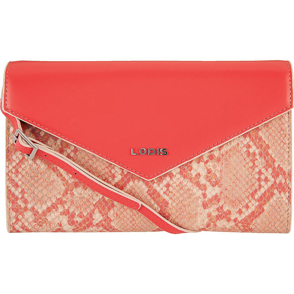 Lodis Kate Exotic Gabi Wallet on a String Pink/Cream - Lodis Leather Handbags - Handbags, Leather Handbags