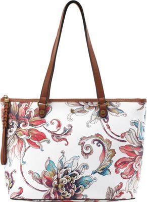 Elliott Lucca Ana Small Tote White Wildflower - Elliott Lucca Designer Handbags