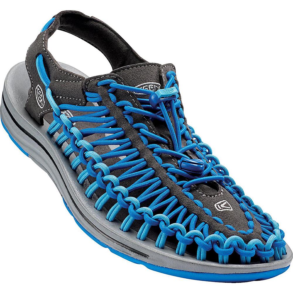 KEEN Mens UNEEK Round Cord Sandal 8 - Raven/Imperial Blue - KEEN Mens Footwear - Apparel & Footwear, Men's Footwear