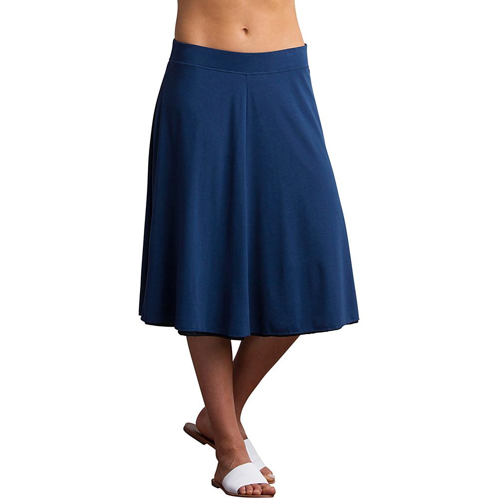 ExOfficio Womens Wanderlux Reversible Midi Skirt M - Indigo/Black - ExOfficio Womens Apparel - Apparel & Footwear, Women's Apparel