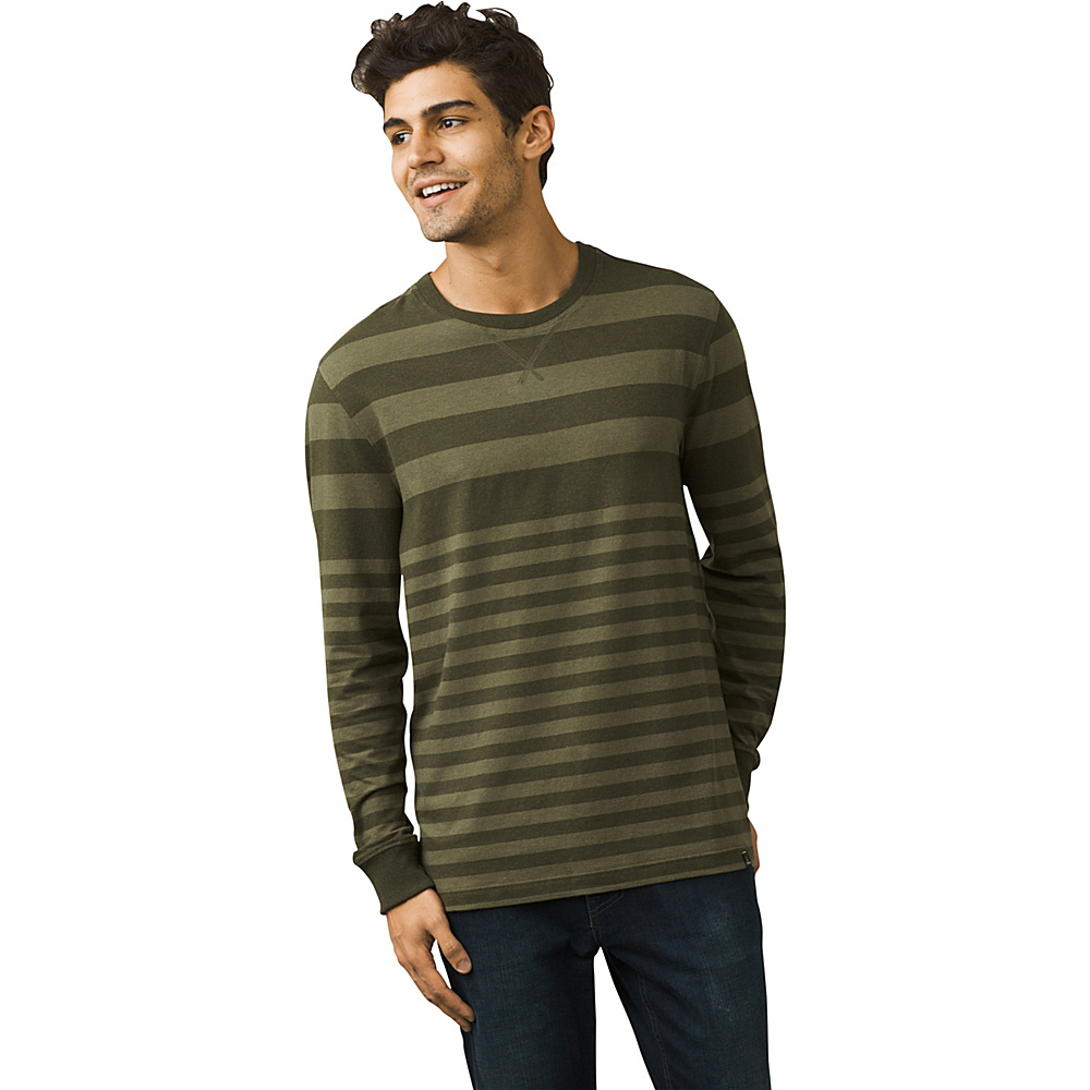 PrAna Setu Crew Shirt M - Cargo Green Stripe - PrAna Mens Apparel - Apparel & Footwear, Men's Apparel