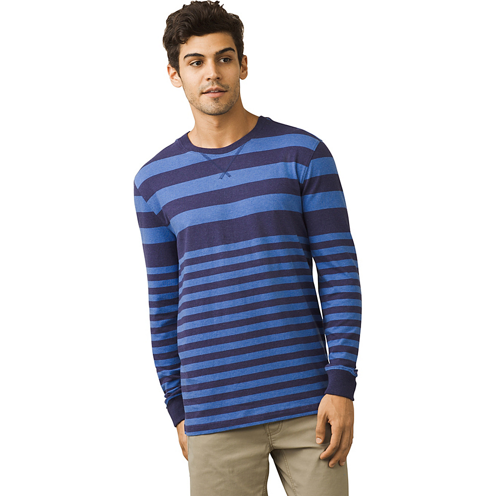 PrAna Setu Crew Shirt M - Cobalt Stripe - PrAna Mens Apparel - Apparel & Footwear, Men's Apparel