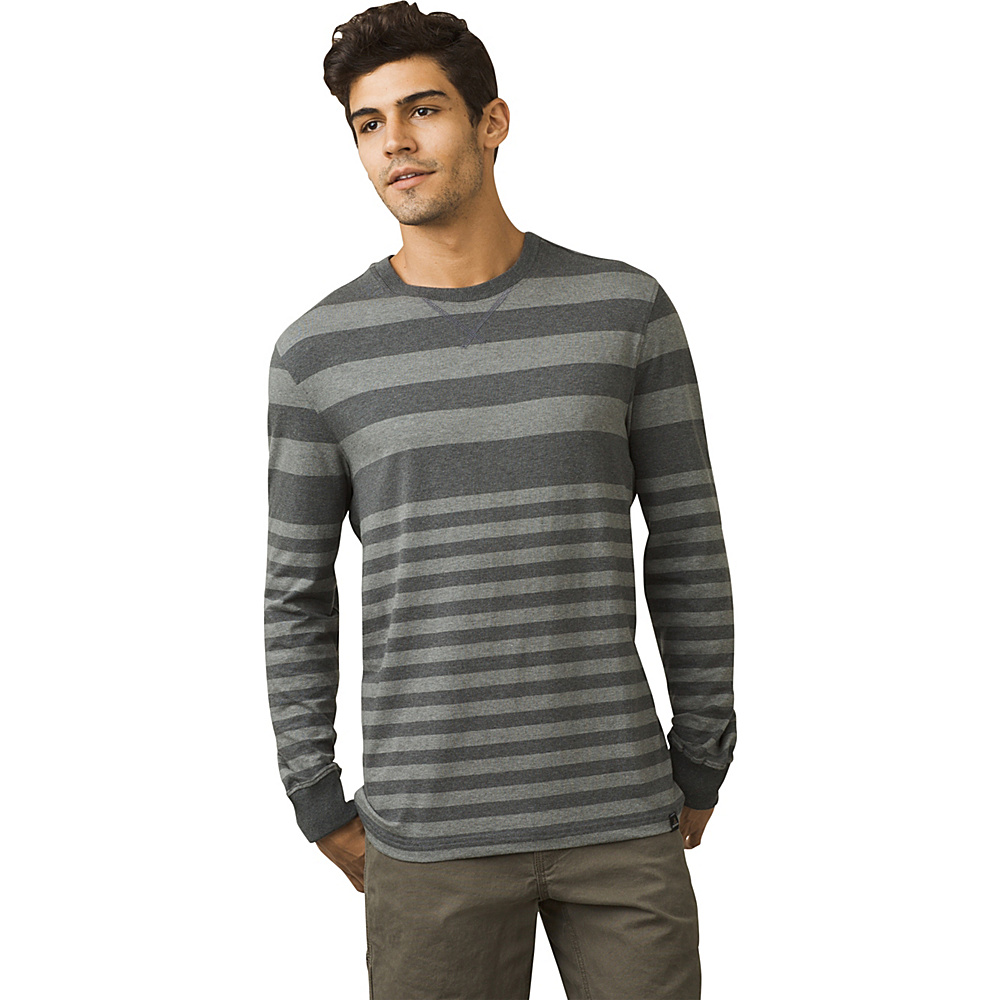 PrAna Setu Crew Shirt L - Gravel Stripe - PrAna Mens Apparel - Apparel & Footwear, Men's Apparel